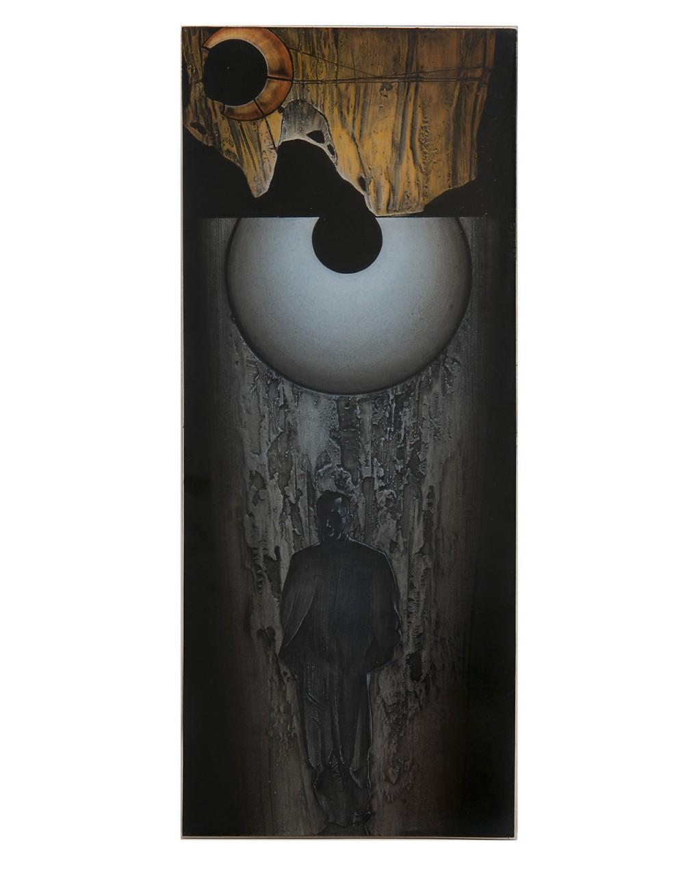 Roccia pensosa 2013 - cm 24,7x61 - resina epossidica, colori acrilici, glassatura epossidica