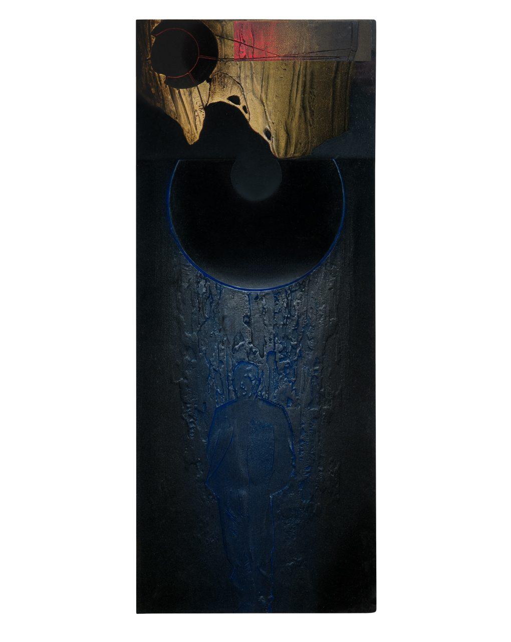 Roccia pensosa - variante 2016 - cm 24,7x61 - resina epossidica, colori acrilici, glassatura epossidica
