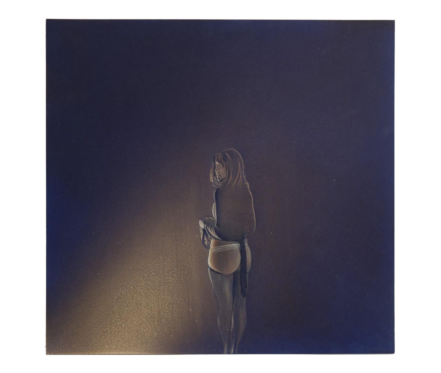 Mrs. R. 2013 - cm 51,2x49 - resina epossidica, polvere di marmo, colori acrilici su cartone