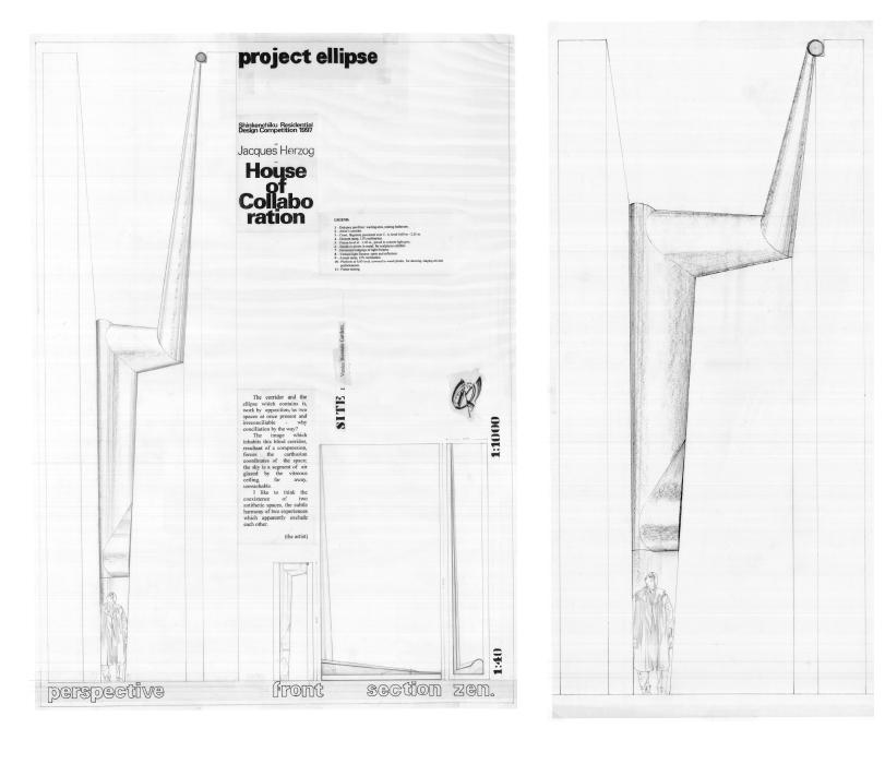 Ellipse – 1997 - in collaboration with Arch. Pucci Dall'Erba Ricci - Project, pencil on tracing paper