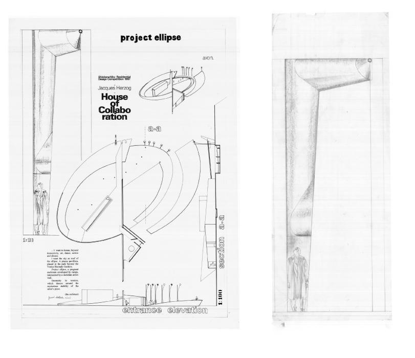 Ellipse - 1997 - in collaboration with Arch. Pucci Dall'Erba Ricci - Project, pencil on tracing paper