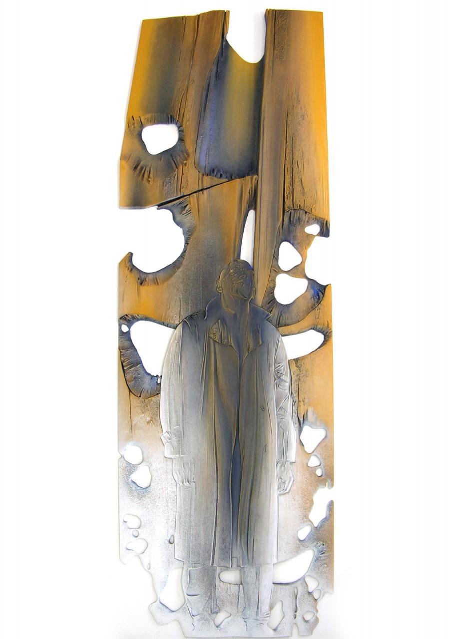 Uomo di luce e ombra 2004 - cm 242x80 - acrylic, plaster, sand on plywood