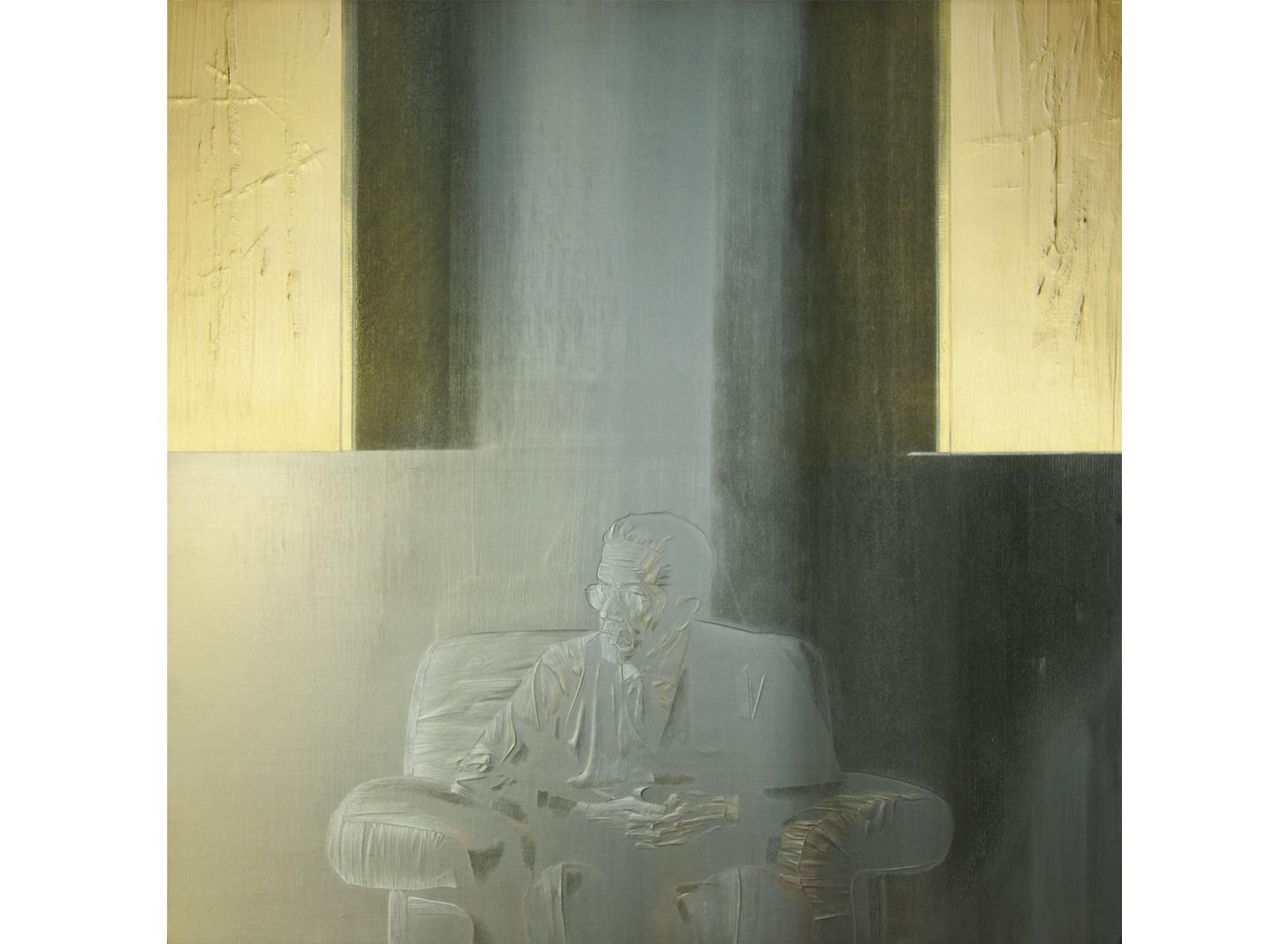 Mio padre 1997/98 - cm 125x125 - polvere di marmo, colori acrilici, sabbia su tela