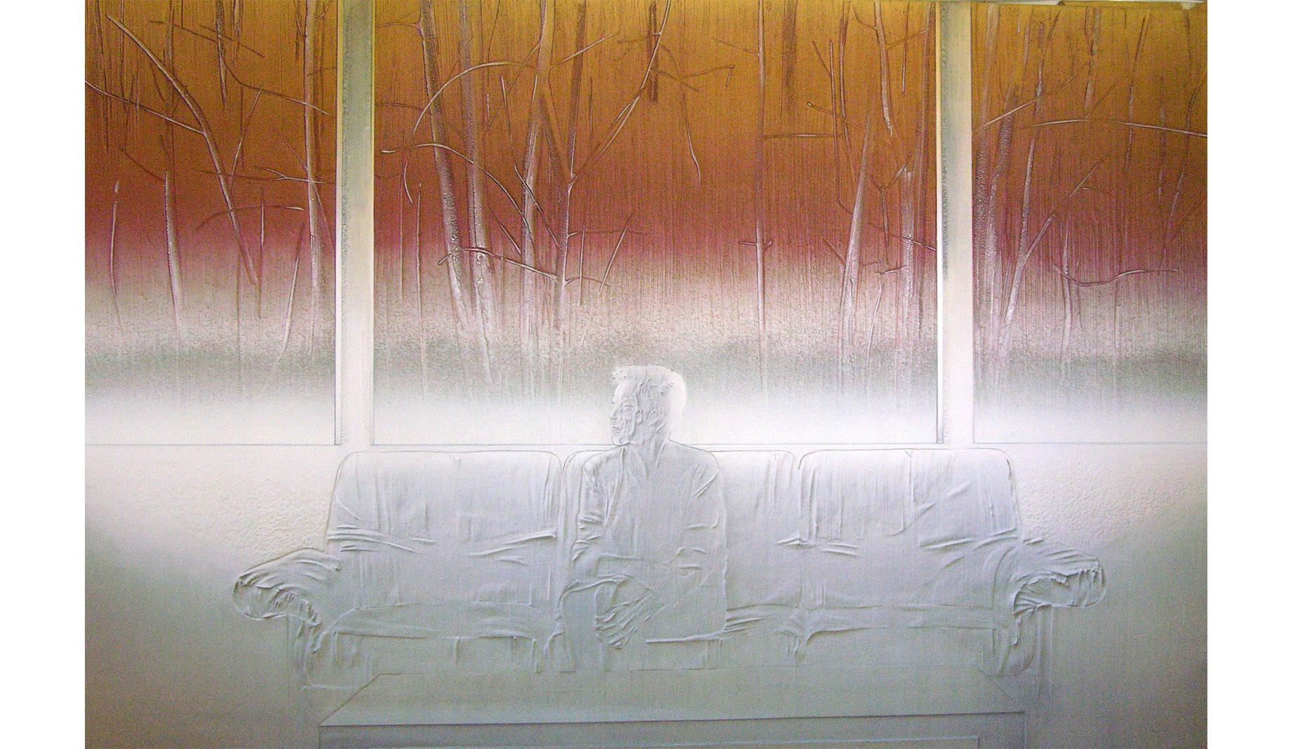 Giardino d'inverno 2003 - cm 225x150 - polvere di marmo, sabbia, colori acrilici, pietra pomice su compensato
