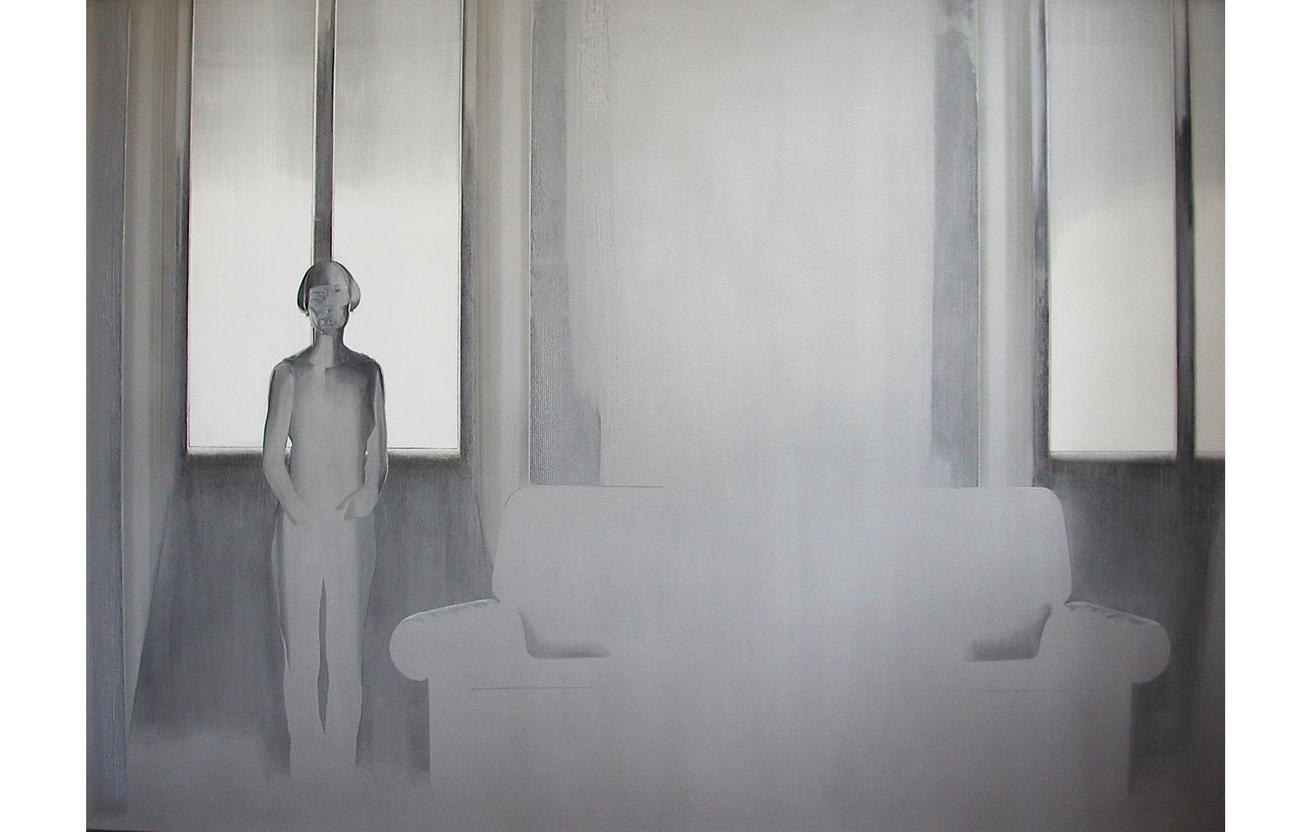 Tarin con gli occhi chiusi 2001 - cm 237x173 - polvere di marmo, sabbia, colori acrilici, pietra pomice su alluminio