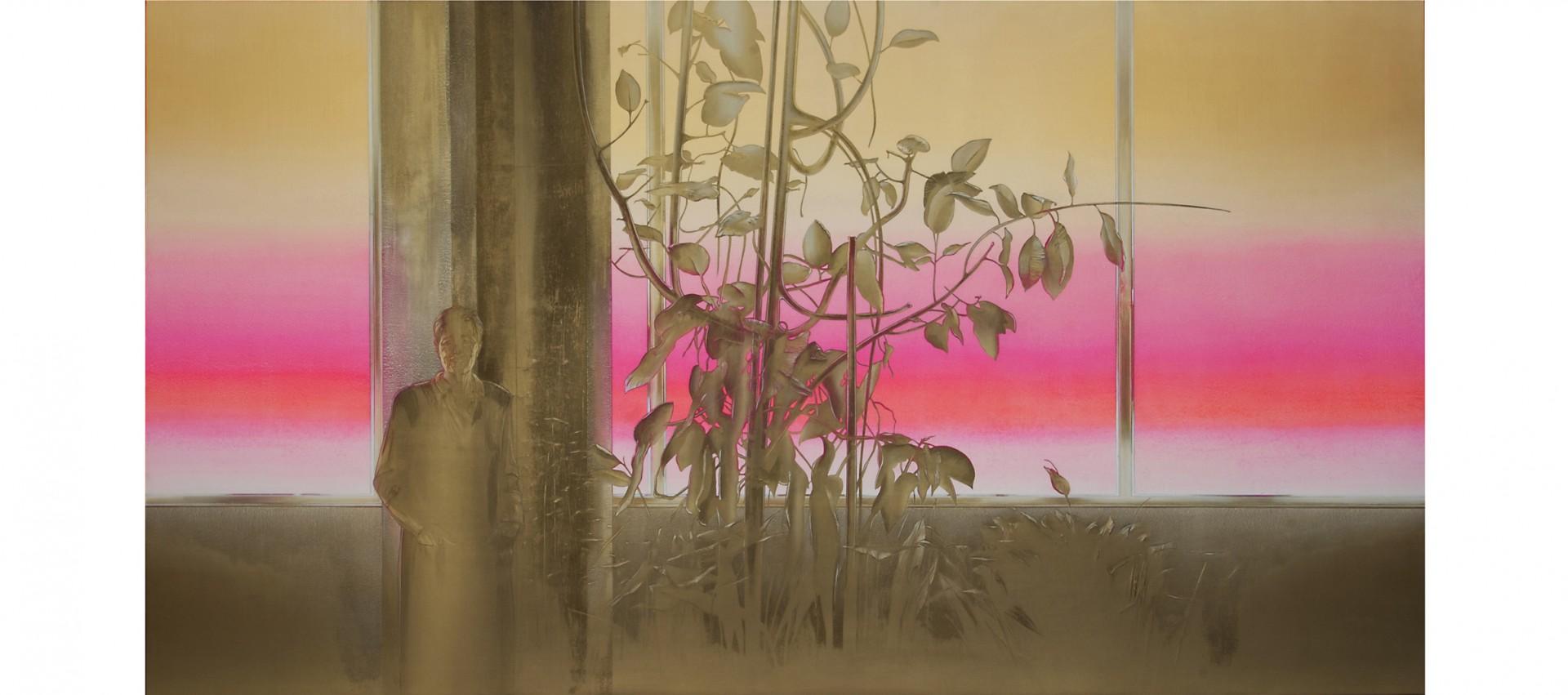 Mia zia nella serra 2001 - cm 290x153 - polvere di marmo, sabbia, colori acrilici su tela