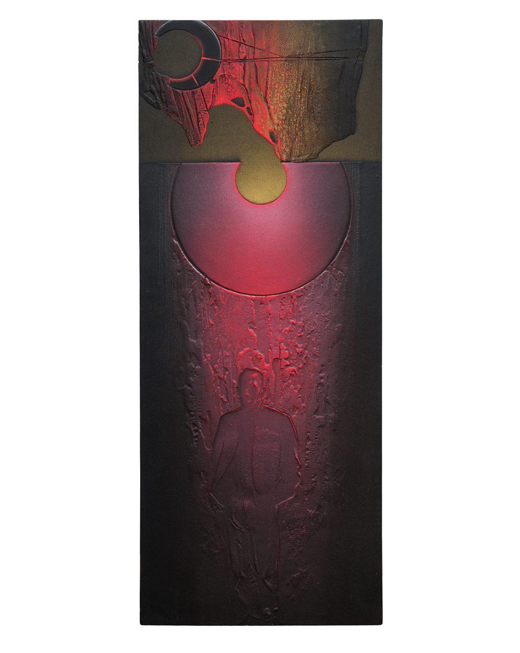 Roccia pensosa - variante 2016 - cm 24,7x61 - resina epossidica, colori acrilici