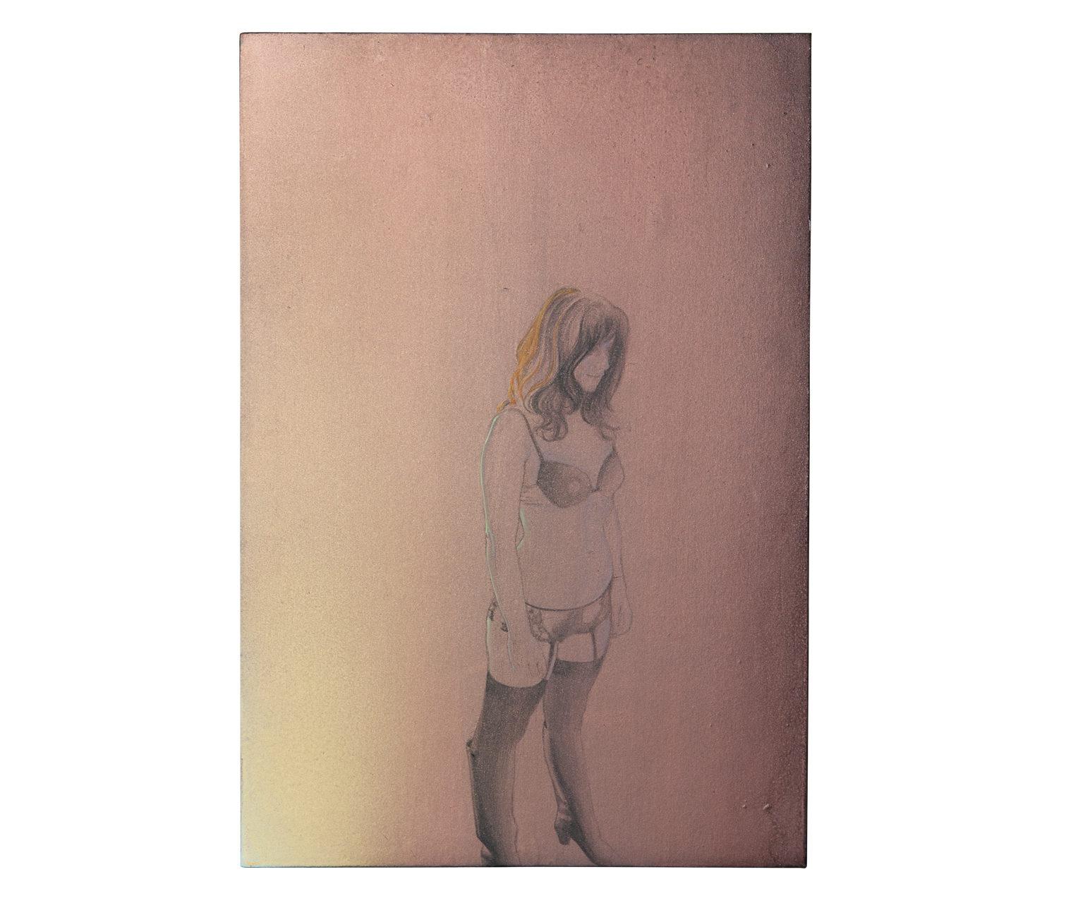 Studio 1 per Mrs. R. 2013 - (disegno preparatorio) - cm 25x37 - disegno, colori acrilici su carta su legno